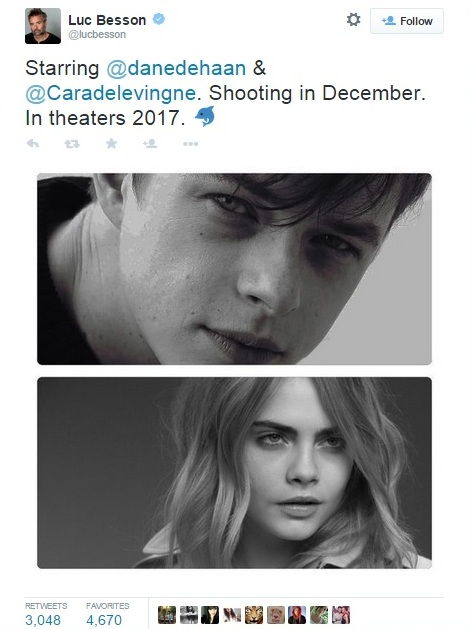 Luc Besson haberi ve başrol oyuncularının isimlerini yeni açtığı Twitter hesabından paylaştı.