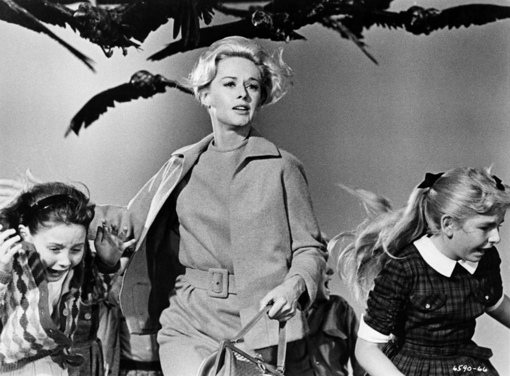 "The Academy of Motion Picture Arts and Sciences will host a month-long series of screenings of classic horror films with ""Universal's Legacy of Horror"" in October. The series is part of the studio's year-long 100th anniversary celebration engaging Universal's fans and all movie lovers in the art of moviemaking. Pictured: Tippi Hedren and children in a scene from THE BIRDS, 1963."